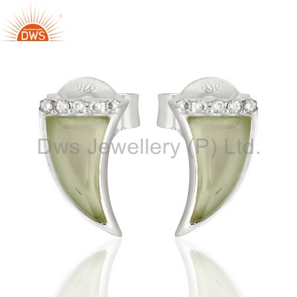 Aqua Chalcedony Tiny Horn Cz Studded Post 92.5 Sterling Silver Earring