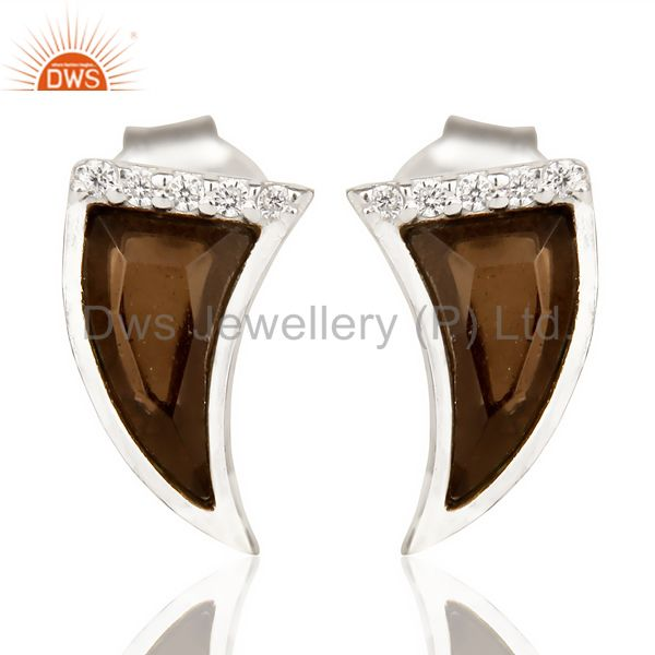 Smoky Topaz Tiny Horn Cz Studded Post 92.5 Sterling Silver Small Earring