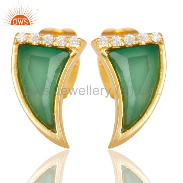 Green Onyx Tiny Horn Cz Studded Post Gold Plated Sterling Silver Earring