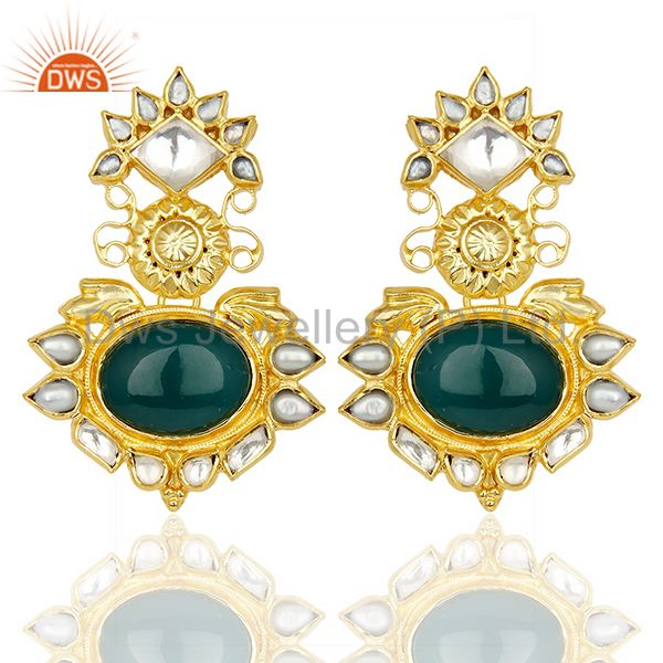 Green Onyx Pearl Gemstone Gold Plated Silver Earrings Supplier