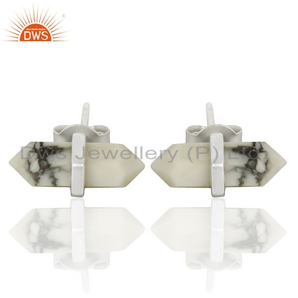 Howlite Terminated Pencil Post 92.5 Sterling Silver Wholesale Earring