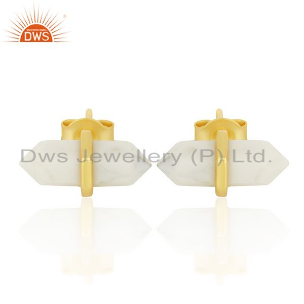 Howlite Terminated Pencil Post Gold Plated Sterling Silver Earring