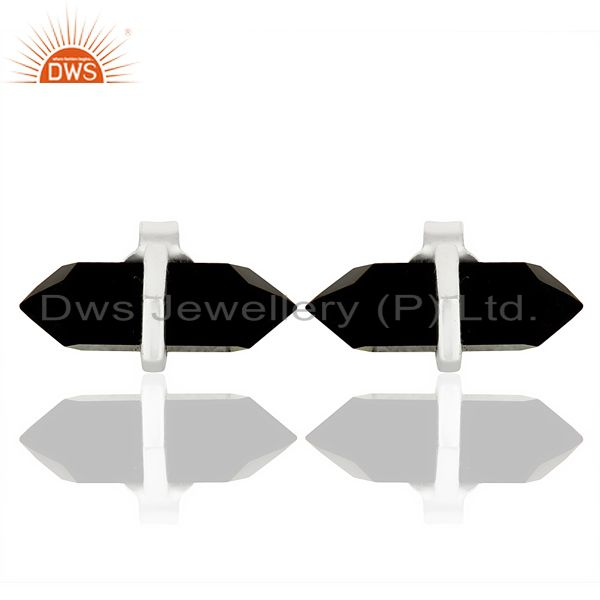 Black Onyx Terminated Pencil Post 92.5 Sterling Silver Wholesale Earring