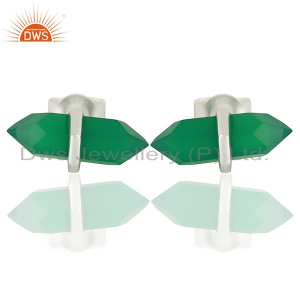 Green Onyx Terminated Pencil Post 92.5 Sterling Silver Wholesale Earring