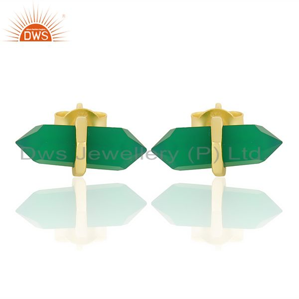 Green Onyx Terminated Pencil Post Gold Plated Sterling Silver Earring