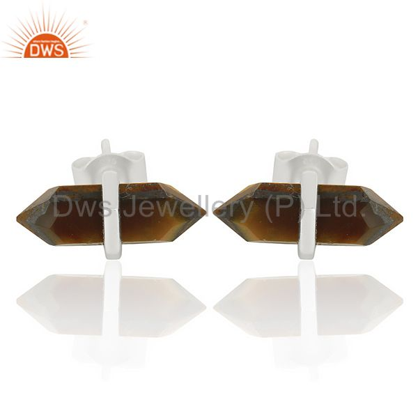 Tigereye Terminated Pencil Post 92.5 Sterling Silver Wholesale Earring