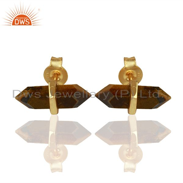 Tigereye Terminated Pencil Post Gold Plated Sterling Silver Earring