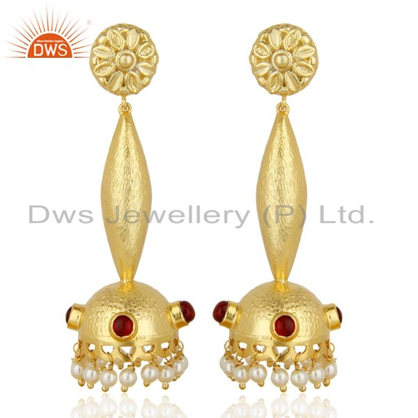 Pearl Gemstone Gold Plated Silver Traditional Wedding Earring Supplier