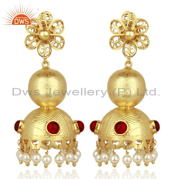 Red Stone Studded Traditional Bollywood Jhumka Gold Plated 92.5 Silver Jewelry