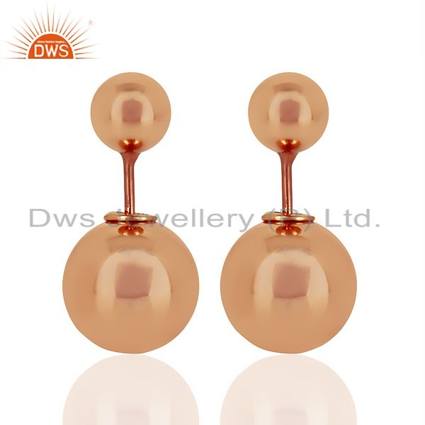 Two Ball Stud,Two Way Stud Post Rose Gold Plated Trendy Sterling Silver Earring