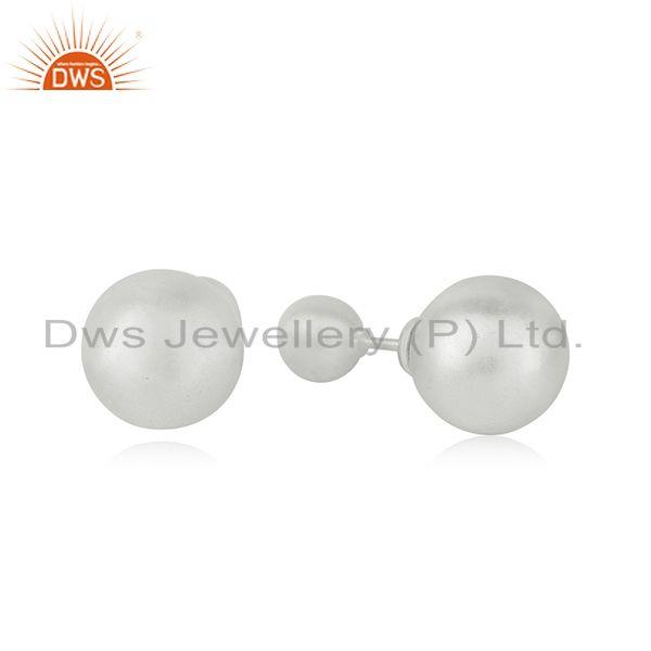 Handmade 925 Sterling Silver Double Side Stud Earrings Manufacturer India
