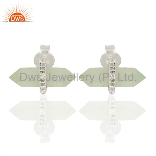 Aqua Chalcedony Cz Studded Pencil Post 92.5 Sterling Silver Wholesale Earring