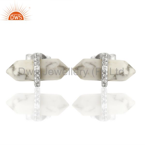 Howlite Cz Studded Pencil Post 92.5 Sterling Silver Wholesale Earring