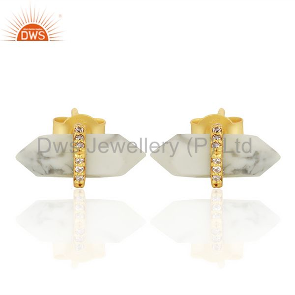 Howlite Cz Studded Pencil Post 14K Gold Plated Sterling Silver Earring