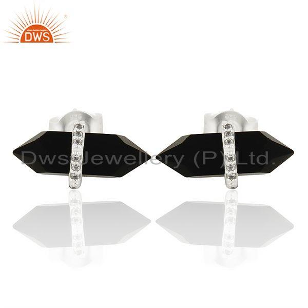 Black Onyx Cz Studded Pencil Post 92.5 Sterling Silver Wholesale Earring
