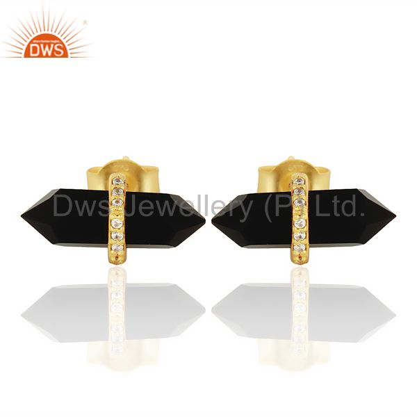 Black Onyx Cz Studded Pencil Post 14K Gold Plated Sterling Silver Earring