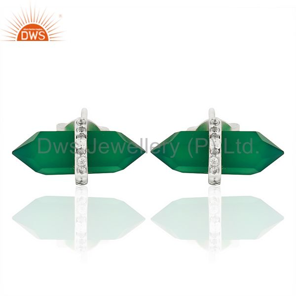 Green Onyx Cz Studded Pencil Post 92.5 Sterling Silver Wholesale Earring