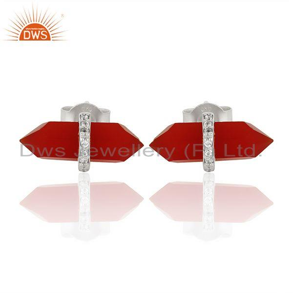 Red Onyx Cz Studded Pencil Post 92.5 Sterling Silver Wholesale Earring