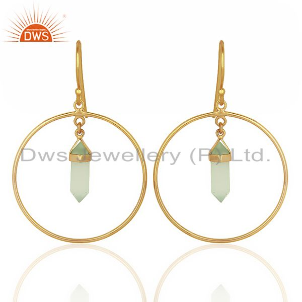 Aqua Chalcedony Hoop Earring,Pencil Terminated Earring Gold Plated Silve Earring