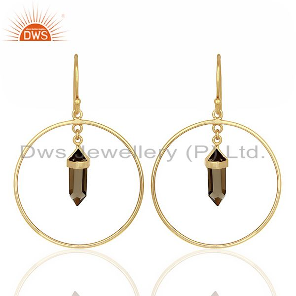 Smoky Topaz Hoop Earring,Pencil Terminated Earring Gold Plated Silve Earring