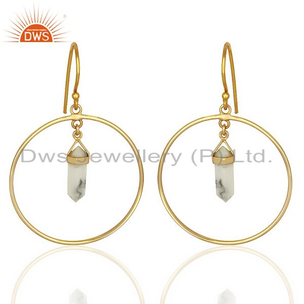 Howlite Hoop Earring,Pencil Terminated Earring Gold Plated Silve Earring