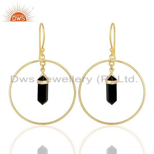 Black Onyx Hoop Earring,Pencil Terminated Earring Gold Plated Silve Earring
