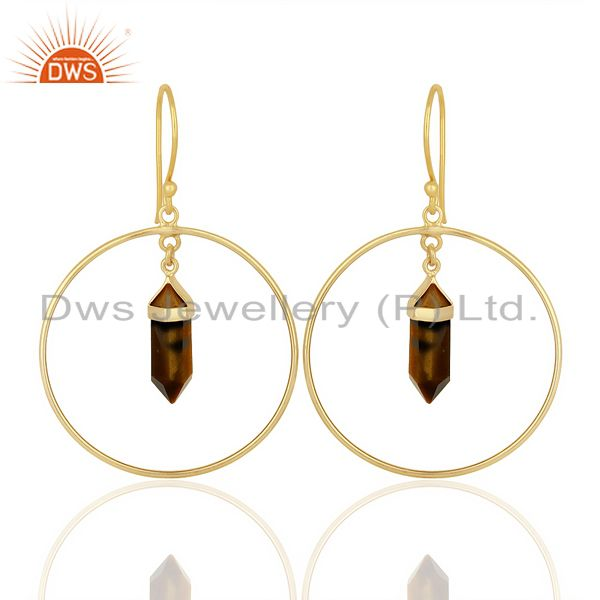 Tigereye Hoop Earring,Pencil Terminated Earring Gold Plated Silve Earring