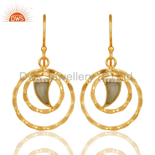 Aqua Chalcedony Textured Hoops,Horn Hoops,Gold Plated 92.5 Silver Hoops Earring