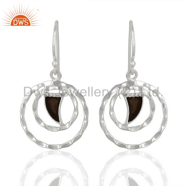 Smoky Topaz Textured Hoops,Horn Hoops,92.5 Silver Wholesale Hoops Earring