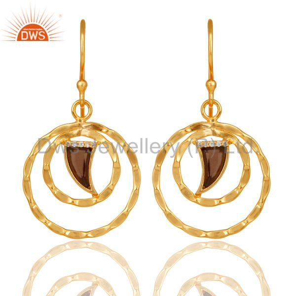 Smoky Topaz Textured Hoops,Horn Hoops,Gold Plated 92.5 Silver Hoops Earring