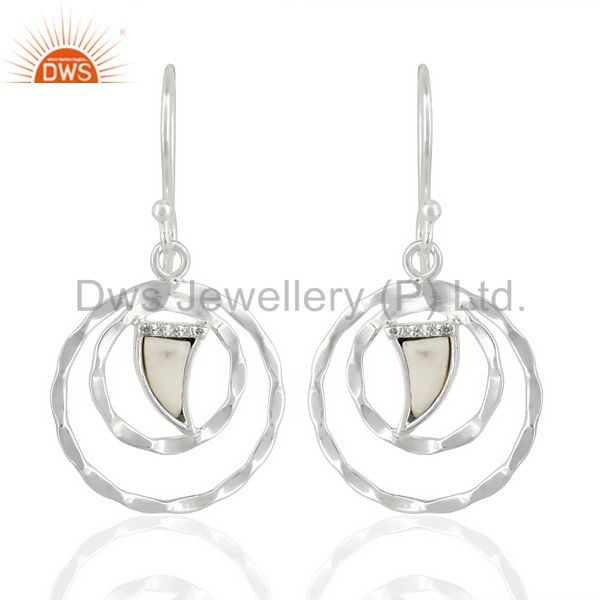 Howlite Textured Hoops,Horn Hoops,92.5 Silver Wholesale Hoops Earring