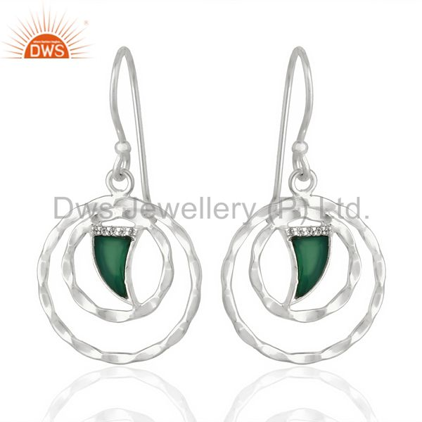 Green Onyx Textured Hoops,Horn Hoops,92.5 Silver Wholesale Hoops Earring