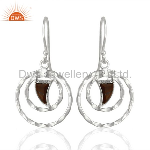 Tigereye Textured Hoops,Horn Hoops,92.5 Silver Wholesale Hoops Earring