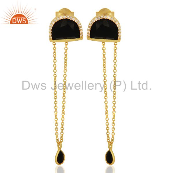 Black OnyxStudded Half Moon Long Dangle Gold Plated Sterling Silver Earring