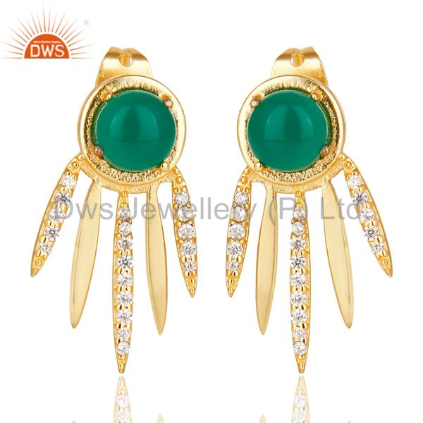 Green Onyx And  White Cz Studded Spike Post Gold Plated Sterling Silver Earring