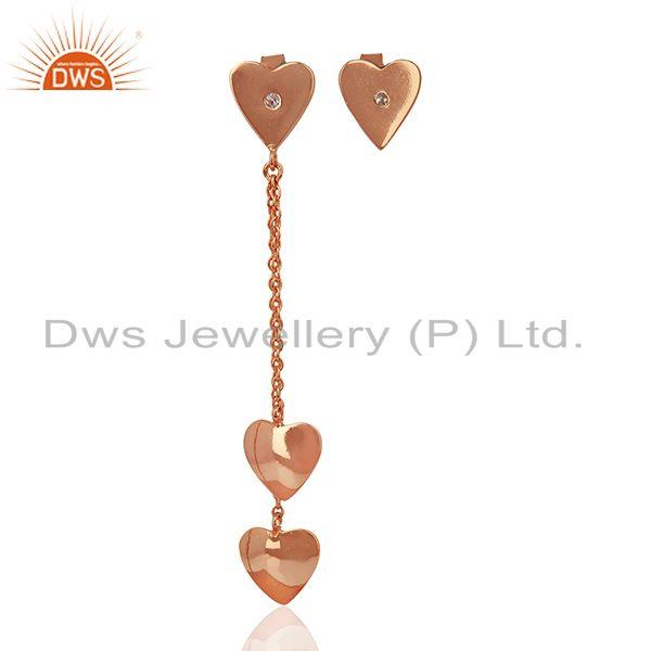 Rose Gold Plated Sterling Silver White Topaz Heart Earring Wholesale