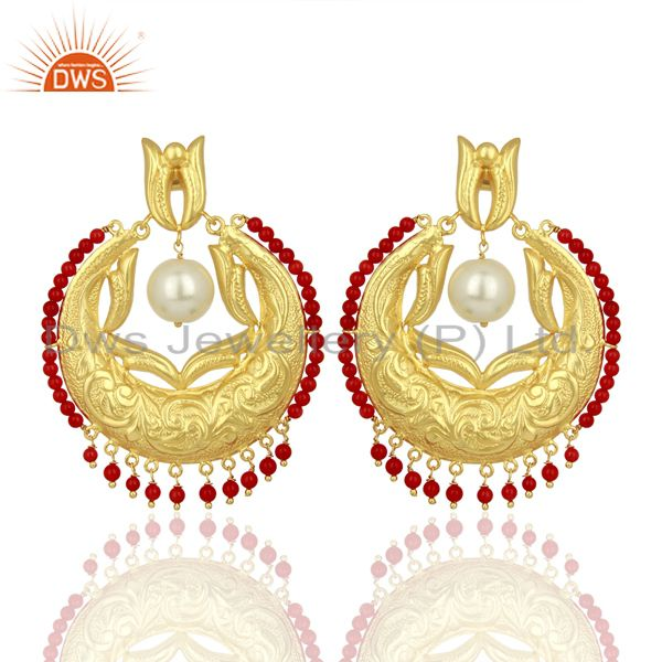 CZ Coral Gemstone Gold Plated Silver Chand Bali Traditional Earrings