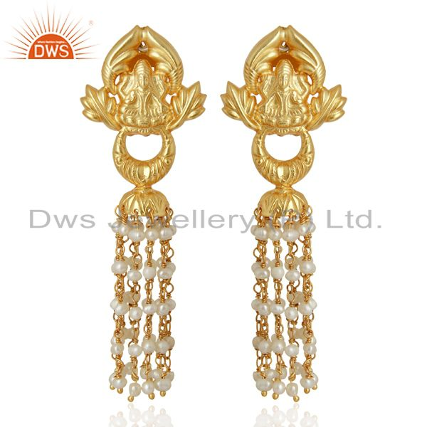 Natural Pearl Gemstone Gold Plated Silver Traditional Earrings