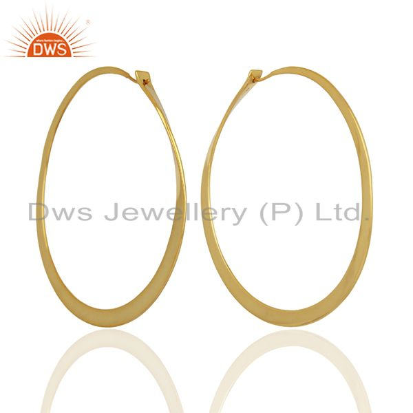 Handmade Gold Plated 925 Silver Hoop Earrings Jewelry Manufacturer
