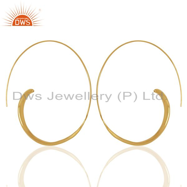 Designer Gold Plated Silver Hoop Earrings Manufacturer Jewelry