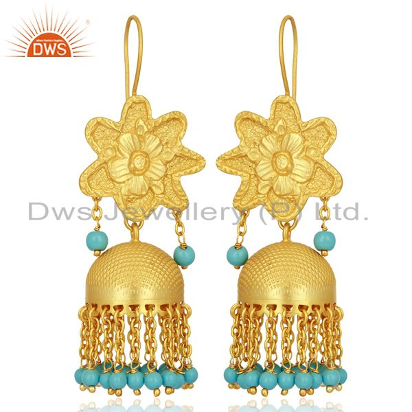 Turquoise Gemstone Gold Plated Silver Traditional Jhumka Earrings