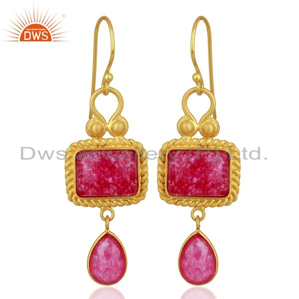 Red Aventurine Gemstone Gold Plated 925 Silver Earrings Wholesale
