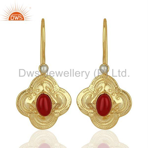 Coral Gemstone Gold Plated Silver Womens Earrings Jewelry Supplier