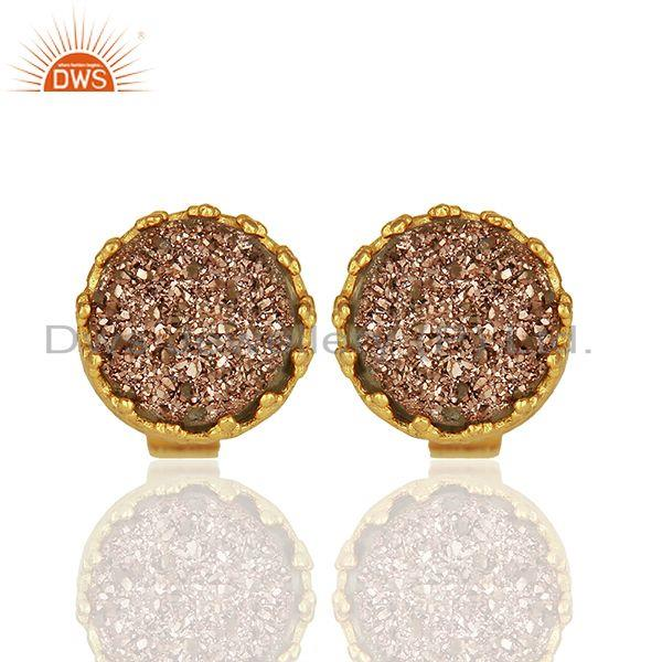 Copper Druzy Gemstone Gold Plated 925 Silver Stud Earring Manufacturer