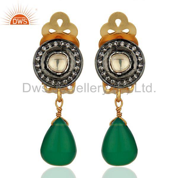 CZ and Green Onyx Gemstone Gold Plated Silver Clip Earrings Jewelry