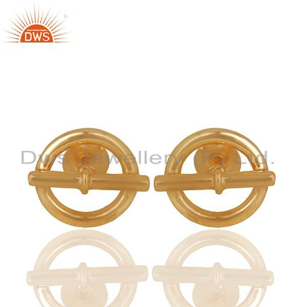 Mini Chaine d Ancre 925 Sterling Silver 18k Gold Plated Stud Earrings Jewelry