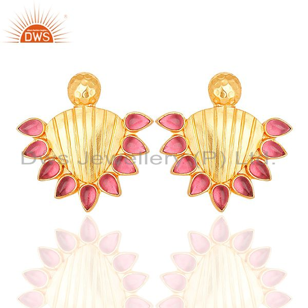 Handmade Gold Plated 925 Silver Pink Gemstone Stud Earring Supplier