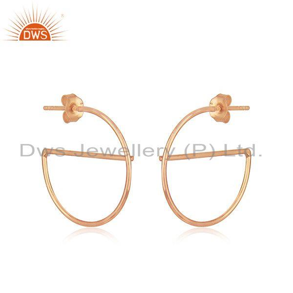 Handmade Rose Gold Plated Silver Earrings For Girls Jewelry