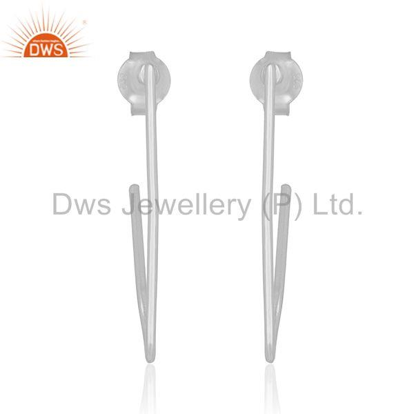Simple Design 925 Sterling Plain Silver Womens Earrings Manufacturers