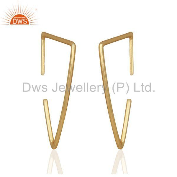 Simple Wire Design 925 Silver Gold Plated Earrings Manufacturers